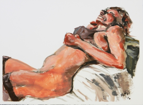 Reclining Nude with Bra