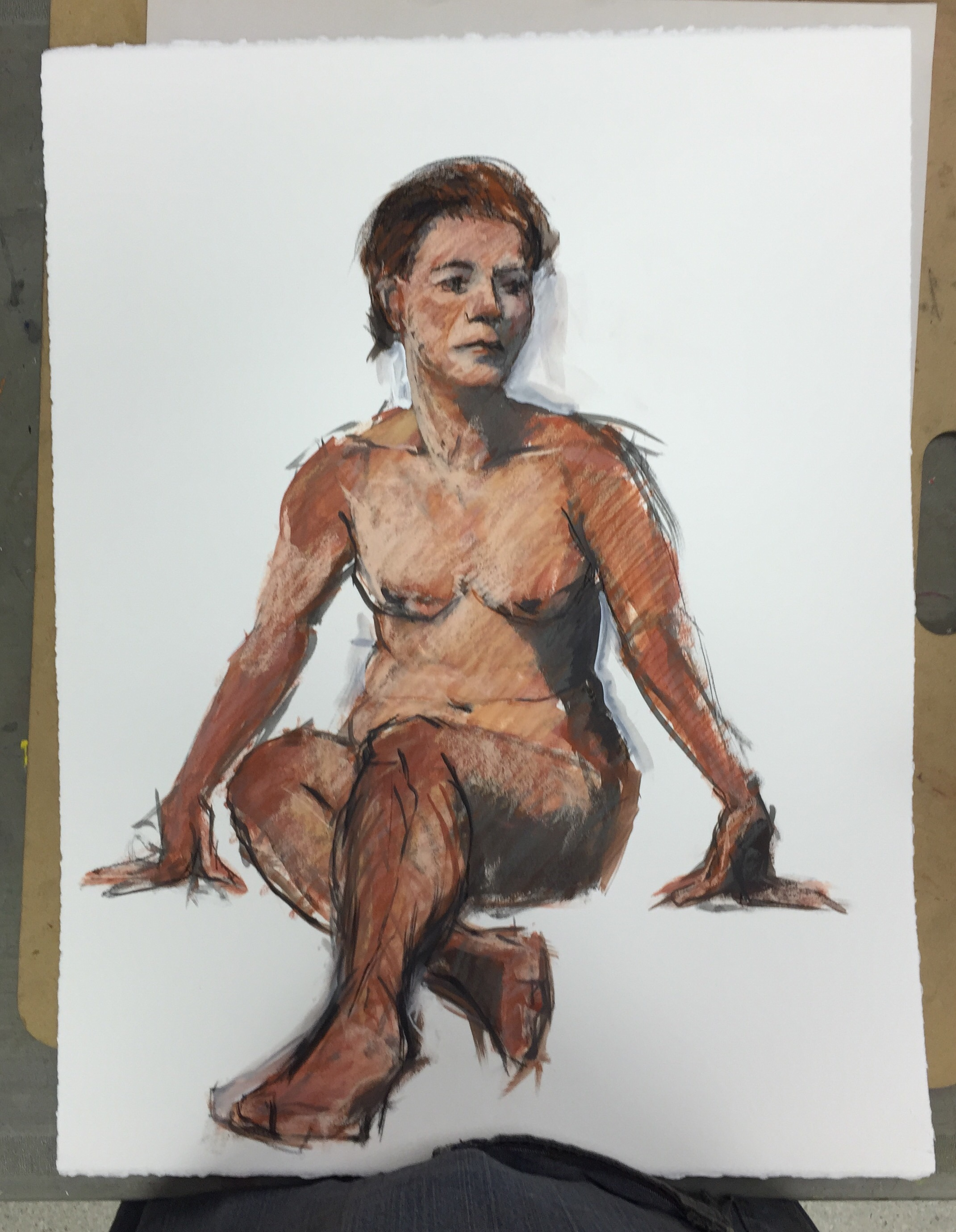 One hour pose, gestural figure on BFK in acrylic and chalk pastel