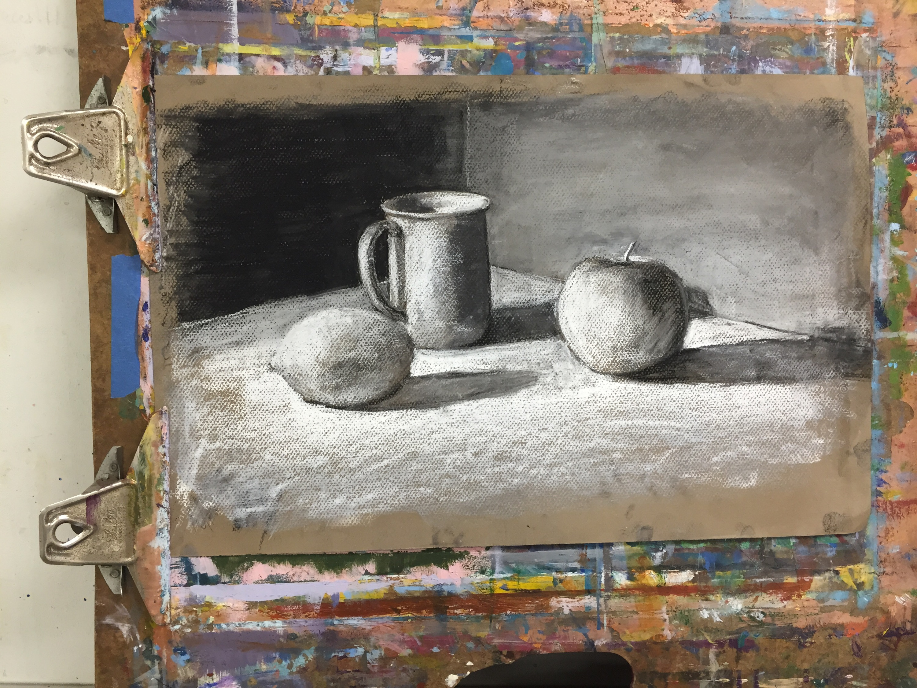 Grisaille underpainting in chalk pastel