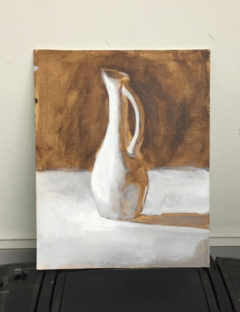 Still Life Demo, burnt umber underpainting in acrylic