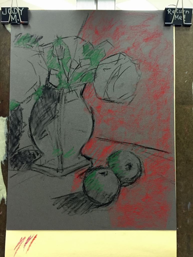 First Sketch, Peonies and Apples