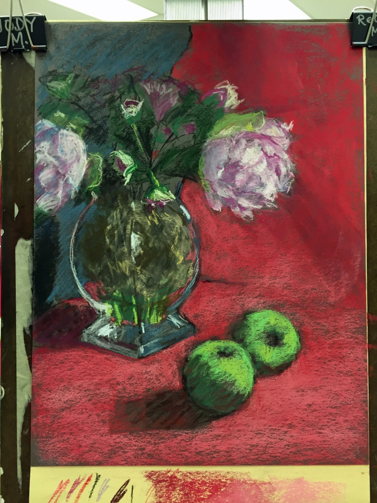 Peonies and Apples, fleshing out peonies